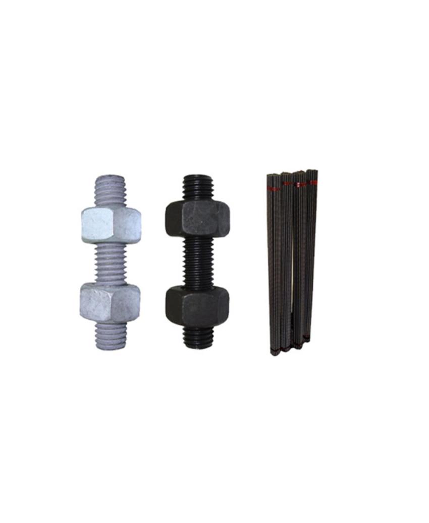 វីស Threaded throughout and 2 nuts Black / HDG (Stud + 2Nuts BL / HDG)